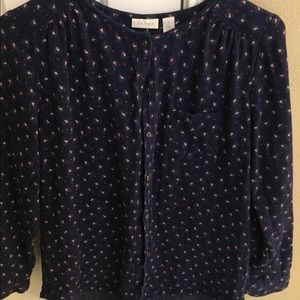 Ls navy floral flannel peasant top from Nordstrom